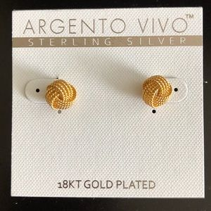 Argento Vivo 18KT gold Plated Knot Earrings